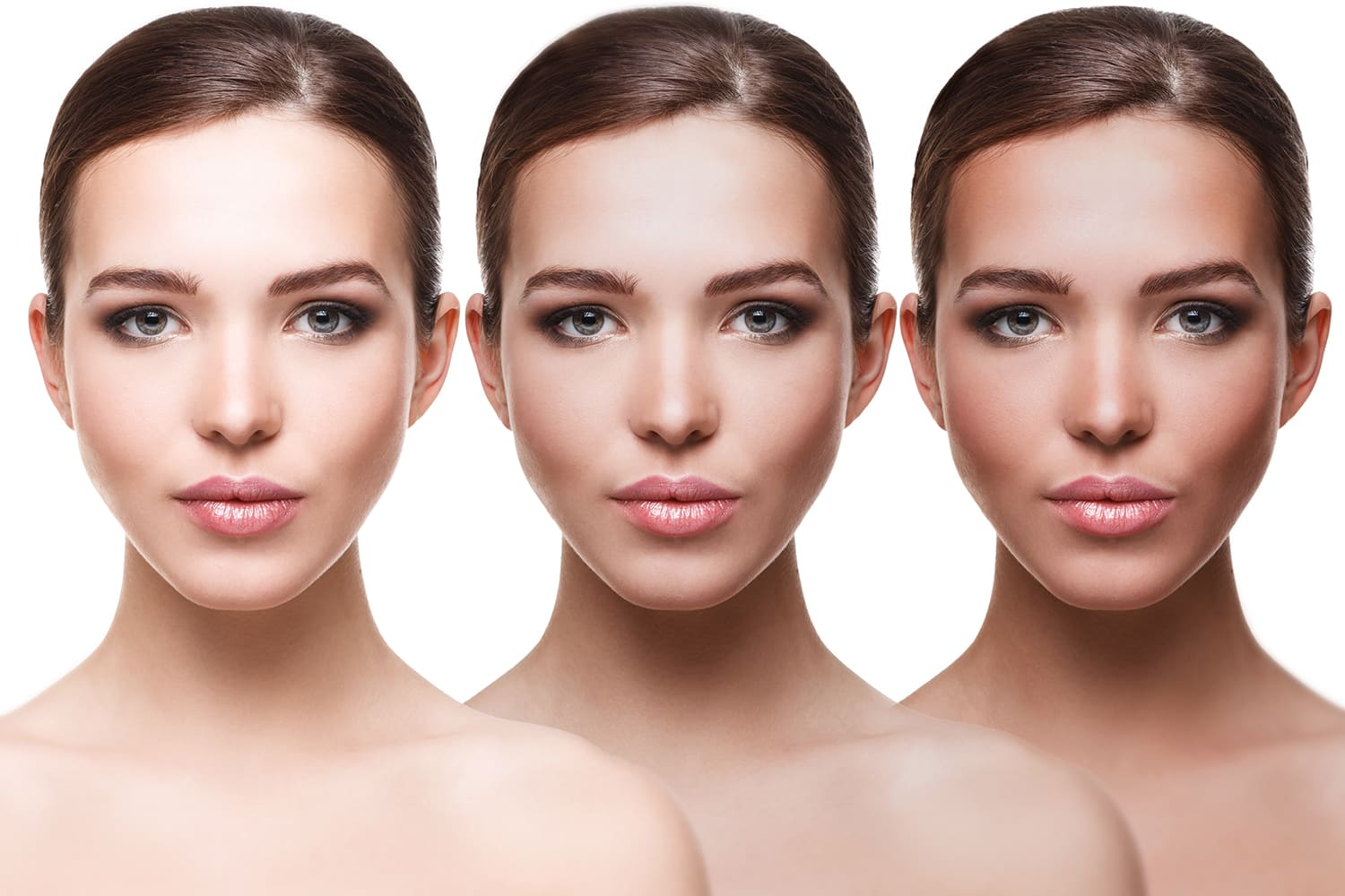 Transition of woman before and after a tanning session. For use on Spray Tanning Course page.