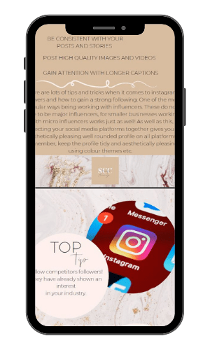 Picture of a mobile phone with an image of our Ultimate Guide to Instagram E-book. For use on the Instagram First Steps page.